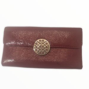 Coach red patent leather checkbook wallet tlc worn